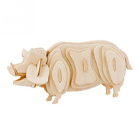 Wholesale DIY D Three dimensional Wooden Animal Pig Style Jigsaw Puzzle Toys for Children Kid Handmade Wood P0638