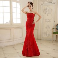 Wholesale 2016 Hot Red Lace Mermaid Long Evening Dresses sexy Strapless Sleeveless Embroidery Fishtail Bridal Banquet Elegant Prom Dress