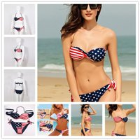 american flag swimsuit - Summer Lady Push Up Padded USA Bikinis For Women American Flag Fringe Tassel Bandage Bathing Suits Swimsuits For Women