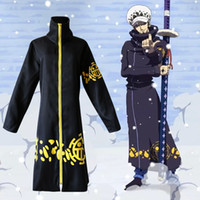 Cheap Anime costumes One Piece Trafalgar Law cos cloth set Japanese cartoon character Trafalgar D Water Law cosplay cloak pants and hat