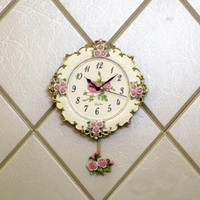 antique rose paintings - Clocks Wall Clocks Hot Selling Natural Resin Vintage Wall Clock Pink Rose Painting Crafts Home Decoration Cm