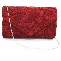 Wholesale Classic Designer Lace Flower Bride Weeding Clutch Purse Vintage Women Fashion Evening Bag Casual Chains Shoulder Bag Envelope Bag Bolso