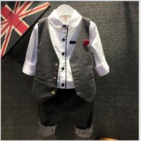 no brand Boy Spring / Autumn 2016 Top Quality Fashion Boys Gentleman Style Clothes Children Polka Dots Waistcoat+Shirt+Pants 3pcs Sets Kids Outfits Handsome Boy Suit