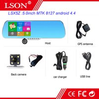 Wholesale 5 inch android touch rearview mirror car camera wifi gps navigator full hd p car dvr dual lens parking video recorder