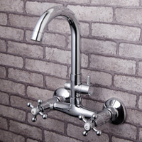 Wholesale Bath Mixer Brass Chrome Exposed Bathtub Faucets Hot Cold thermostatic Bath Shower Bathroom Tap Daul Holder Wall Mounted