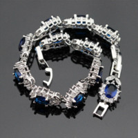 agate jewelry box - 925 Sterling Silver Bracelets For Women Length cm Flower Blue Sapphire Tanzanite White Topaz Trendy Jewelry Free Gift Box