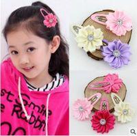 animal baby accessories - 60PCS Colors Girl Flower Hair clip Rhinestone Mini Satin Flower Hair Clip Children Hairpins DIY Baby Girl Hair Accessories