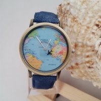 Cheap 2016 explosion models fashion world map watch second hand aircraft denim canvas belt trend watch