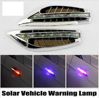 automobile strobe lights - Car Styling Solar Vehicle Warning Lamp Automobile Shark Gills False Air Inlet Air Outlet Auto LED Lights Decoration Lamp
