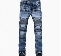 Wholesale BALMAIN jeans men hot mens designer jeans famous brand balmain jeans men distressed jeans ripped denim JN01