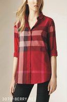 Wholesale 2016 Fashion Womens Cotton Long Sleeve Plaid Small Unlined Upper Garments High Quality Ladies Womens Plus Size Shirts Tops Blouses Shirts