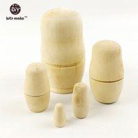 Wholesale DIY Blank Russian Nesting Matryoshka Dolls inch Piece Set Unpainted