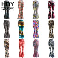 Wholesale HDY Haoduoyi Woman Fashion Autumn Colors Multi Geometric Print Slim Stretchable Material Flared Bell Bottom Pants