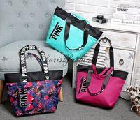 b handbags - Fashion Colors Women VS Love Pink Shoulder Bags Handbags Large Capacity Travel Duffle Striped Waterproof Beach Bag Shoulder Bag Z469 B