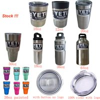Wholesale YETI oz oz oz oz oz oz oz Bottle Cups Mugs Ounce Cooler Colster Stainless Steel Colorful Painted Labels Clear Lid