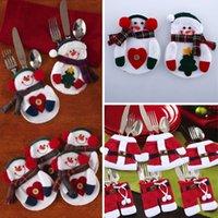 Санта костюмы Цены-2X Одежда Брюки Рождество Санта Снеговик Посуда Kinfe Вилка Silverware Держатели костюм ужин Украшение