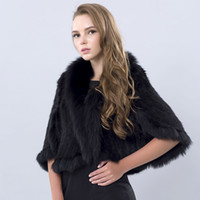 Wholesale Winter Women s Genuine Knitted Mink Fur Shawls With Fox Fur Collar Pashmina Capes Bat Sleeve Bridal Wraps Outerwear Coats