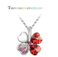 Wholesale With Heart Shape Leaves Covered Rhinestone Pendant Necklace with Copper Chain