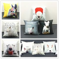 Garage baby pillow cover designs - Hot sale Bull Terrier Dog Cushion Covers Creative Design Oil Paint Soft Pillow Cases Baby Bedroom Decoration X40cm