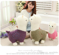 alpaca fur - 2016 New Arriving Lovely Standing Alpaca Plush Toys Wearing Colorful Fur