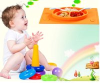 Wholesale Happy Mat Baby bowls kids tableware One piece silicone placemat plate Baby learning silicone cups dishes