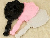 Wholesale Vintage Cosmetic Mirror Plastic Makeup Mirror Cute Girl Hand Make Up Black White Pink colors FREE SHIP
