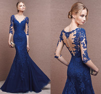 Wholesale Sexy Royal Blue Bridesmaid Dresses V Neck Sleeve Appliques Lace Mermaid Formal Long Maid Of Honor Dress For Wedding Party
