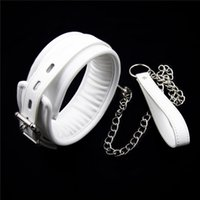 Cheap White leather bondage harness fetish slave collar chain and chain leash neck corset sex adult collars restraints bdsm sexy toys