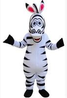 al por mayor cebra madagascar mascota-¡Cuadros verdaderos estupendos del partido de Víspera de Todos los Santos del traje de la mascota de la cebra Marty de la calidad Madagascar! Traje de la mascota de la historieta que envía libremente