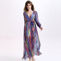 Wholesale One piece dress color fringe imitated silk fabric ultrathin long sleeve with lacing