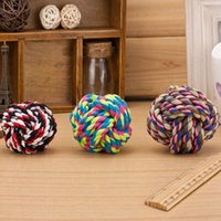 Wholesale New Design Pets Rope Ball Toys Bite Ball Colorful Squeak Toys Dog Wool Ball Toys Size Pet Puppy Chew Toys