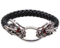 al por mayor pulseras de cuero de moda europea-La joyería caliente de la manera hombres europeos y americanos del estilo pulsera roja del dragón del ojo personalizó la joyería tejida aleación de cuero