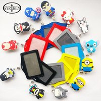 Wholesale 2016 New Silicone card case holder Bank Credit Card Holders Card Bus ID Holders Identity Badge with Cartoon Retractable Reel