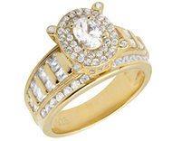 baguette engagement ring - Ladies Yellow Gold Finish Baguette Oval Lab Diamond Engagement Wedding Ring