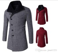 Wholesale Winter Classic Long Black Coat Men Oblique Button Wool Trench Coat Houndstooth Lapel Neck Casual Trench For Men J161004