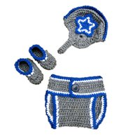 baby football hat - Newborn Cowboys Costume Handmade Crochet Baby Boy Girl Cowboys Football Helmet Hat Diaper Cover and Booties Set Toddler Infant Photo Prop