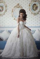 Wholesale 2016 Arabian Design Sweetheart Appliqued Beaded Floral Short Sleeve Puffy Vestidos Wedding Dresses Vestido De Novia Custom Made