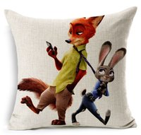 Wholesale 2016 NEW cotton and linen cartoon Poke pillow cover Zootopia character BEDROOM DECORATION home textiles