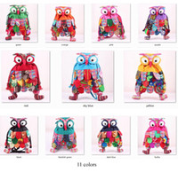 Wholesale OWl style colorful bag Modern Vintage plush foot colors owl backpack cartoon school shoulder bag for kids cm
