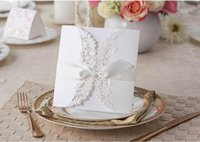 Wholesale Wedding Invitations Cards Hollow Party Invitation Cards Uneven Ribbon Lace Bowknot Mother s Day Card Business Invitation Cards