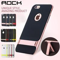 apple rocks - 2016 New Rock Soft TPU Slim Fit Shockproof Hybrid Stand Hard Bumper Soft Case for iPhone plus Samsung Note