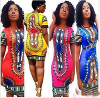 Wholesale Summer Dress Bohemian Fashion Women hot saleTraditional Print African Dashiki Bodycon Dress Sexy Short Sleeve Slim Dress Plus Size