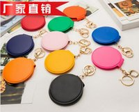 Wholesale Factory Price Keychain Mirror Foldable Makeup Mirror Keychain PU Leather Keyring Purse Pendant Handbag Charm By DHL
