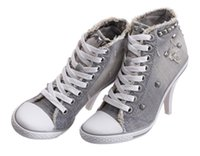 ash sneakers studded - Ash Women s Studded Sneakers Rivets Stiletto heels Ankle Boots Shoes Grey Denim Canvas High top Lace Up Fashion Trainers Casual Sport Shoes