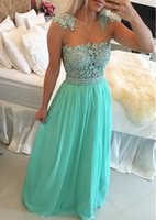 barbara green - 2016 Barbara Melo Mint Green Lace Pearls Chiffon Prom Dresses Sheer Neck Capped Sleeves Long Evening Gowns