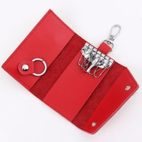 Wholesale 2015 New Fashion Mini Key Wallets Candy Colors Genuine Leather Bags Metal Holders More Colors Whole Sale Portable