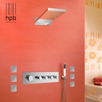 bath wall panel - Han Pai Brass Thermostatic Bathroom Water Mixer Wall Mounted Bath Shower Panel Set Faucet torneira banheiro HP2211
