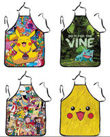 Wholesale DHL Free Poke Pikachu Kitchen Aprons Anime Pocket Monster Apron Pikachu Sleeveless Cooking Apron Party Apron Gifts cm