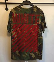 Wholesale Top version OFF WHITE new C O Flocked red Stripe camo unisex men round neck short sleeve cotton t shirt kanye