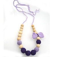 ALLOY beaded tie necklace - 2016 New coming Romantic Purple Lilac bow tie crochet flower teething Nursing necklace Babywearing Baby teether toy NW1999